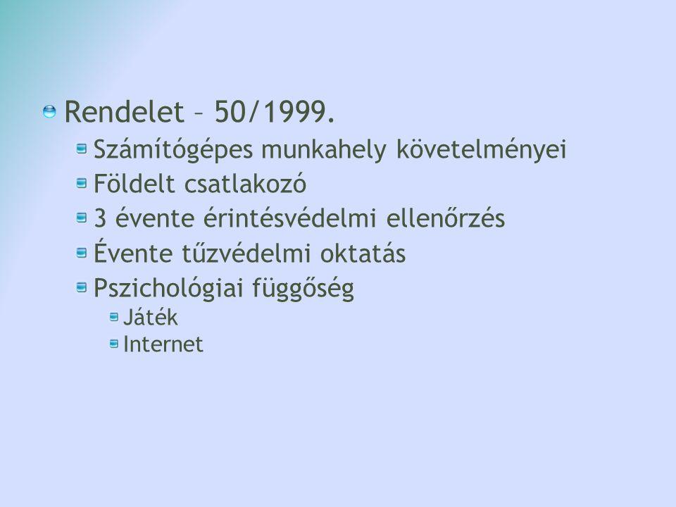Rendelet – 50/1999. Számítógépes munkahely követelményei Földelt csatlakozó 3 évente érintésvédelmi ellenőrzés Évente tűzvédelmi oktatás Pszichológiai