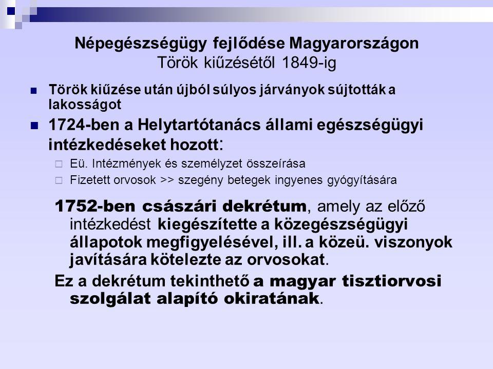 Népegészségügy fejlődése Magyarországon Török kiűzésétől 1849-ig Török kiűzése után újból súlyos járványok sújtották a lakosságot 1724-ben a Helytartó
