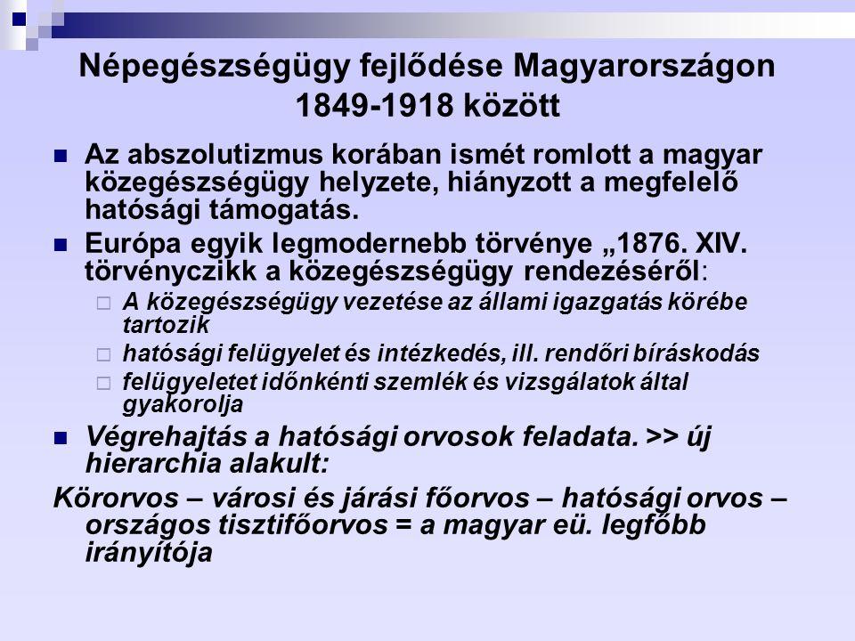 Népegészségügy fejlődése Magyarországon 1849-1918 között Az abszolutizmus korában ismét romlott a magyar közegészségügy helyzete, hiányzott a megfelel