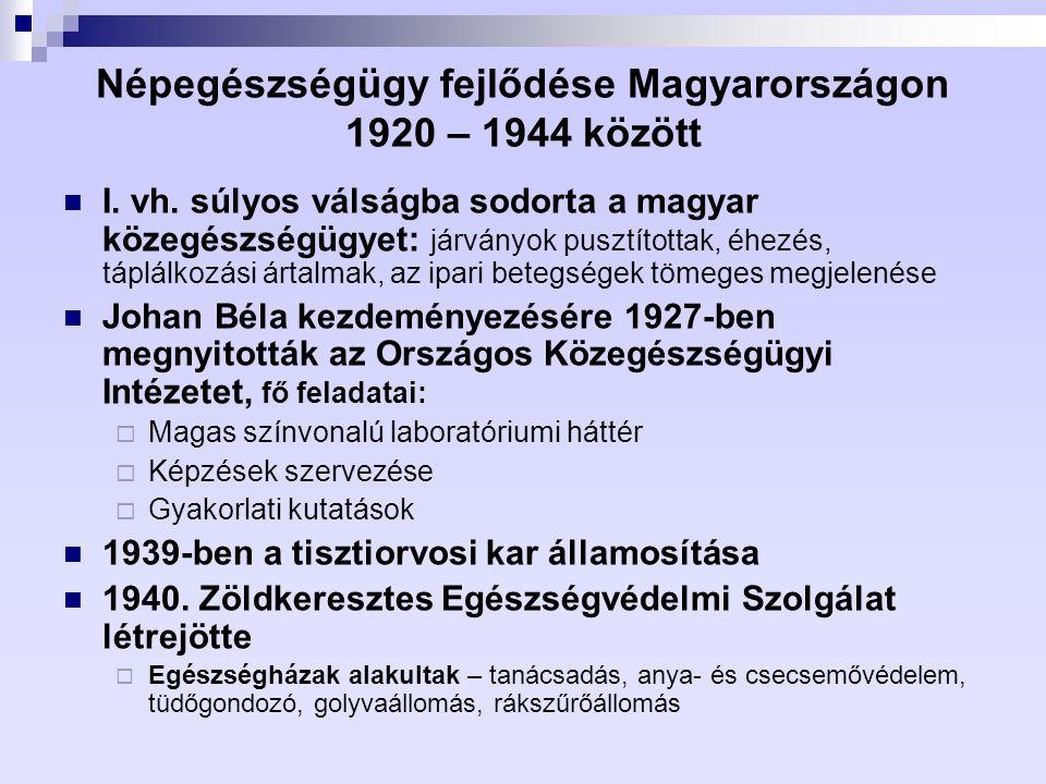 Népegészségügy fejlődése Magyarországon 1920 – 1944 között I. vh. súlyos válságba sodorta a magyar közegészségügyet: járványok pusztítottak, éhezés, t