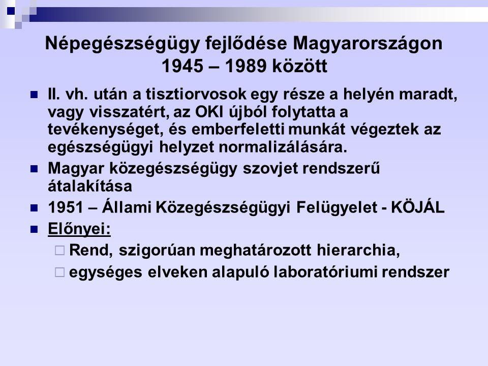 Népegészségügy fejlődése Magyarországon 1945 – 1989 között II. vh. után a tisztiorvosok egy része a helyén maradt, vagy visszatért, az OKI újból folyt