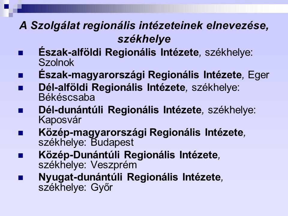 A Szolgálat regionális intézeteinek elnevezése, székhelye Észak-alföldi Regionális Intézete, székhelye: Szolnok Észak-magyarországi Regionális Intézet