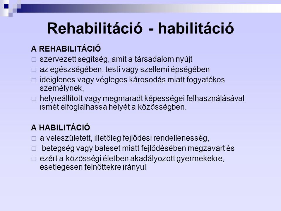 Rehabilitáció - habilitáció A REHABILITÁCIÓ  szervezett segítség, amit a társadalom nyújt  az egészségében, testi vagy szellemi épségében  ideiglen