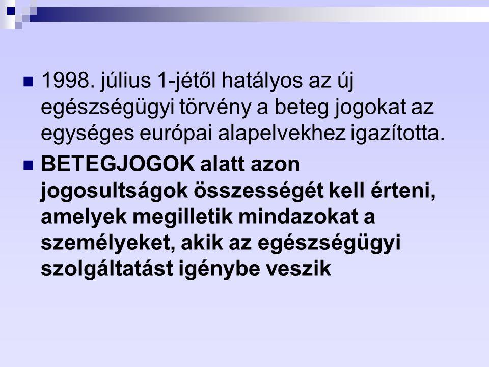 1998. július 1-jétől hatályos az új egészségügyi törvény a beteg jogokat az egységes európai alapelvekhez igazította. BETEGJOGOK alatt azon jogosultsá