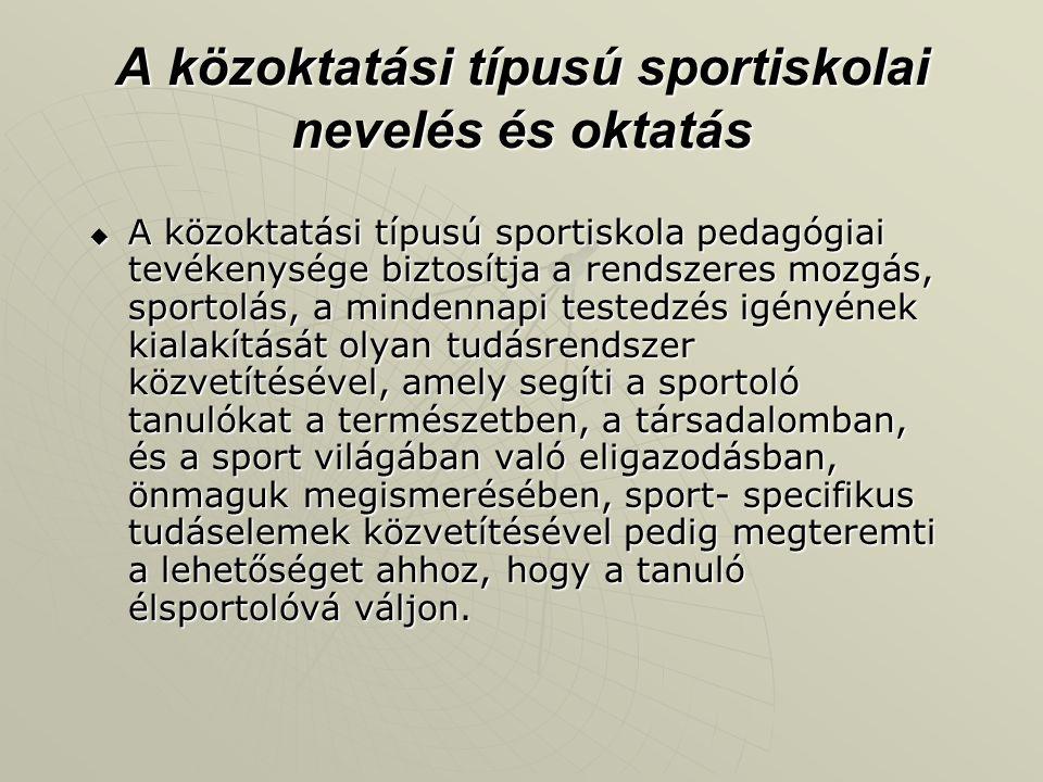 A közoktatási típusú sportiskolai nevelés és oktatás  A közoktatási típusú sportiskola pedagógiai tevékenysége biztosítja a rendszeres mozgás, sporto