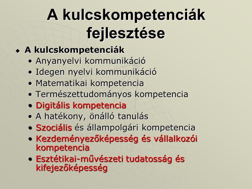 A kulcskompetenciák fejlesztése  A kulcskompetenciák Anyanyelvi kommunikációAnyanyelvi kommunikáció Idegen nyelvi kommunikációIdegen nyelvi kommuniká
