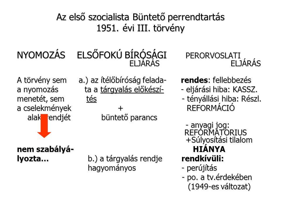 Az első szocialista Büntető perrendtartás 1951. évi III. törvény NYOMOZÁS ELSŐFOKÚ BÍRÓSÁGI PERORVOSLATI ELJÁRÁS ELJÁRÁS A törvény sem a.) az ítélőbír