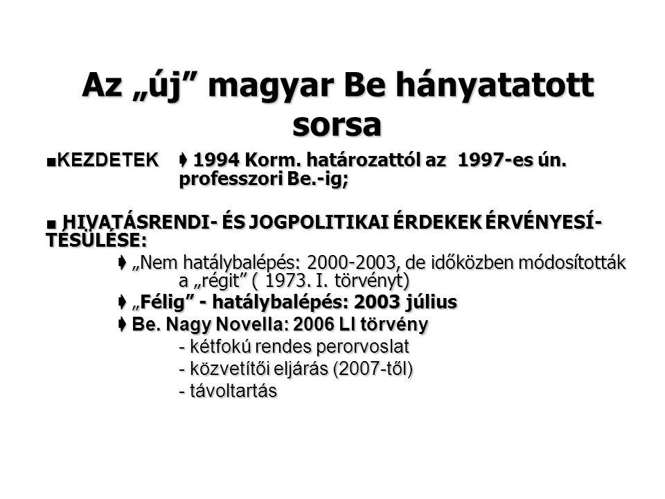 """Az """"új"""" magyar Be hányatatott sorsa ■KEZDETEK ➧ 1994 Korm. határozattól az 1997-es ún. professzori Be.-ig; ■ HIVATÁSRENDI- ÉS JOGPOLITIKAI ÉRDEKEK ÉRV"""