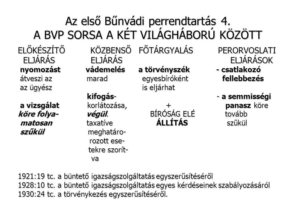 Az első Bűnvádi perrendtartás 5.A Bvp.
