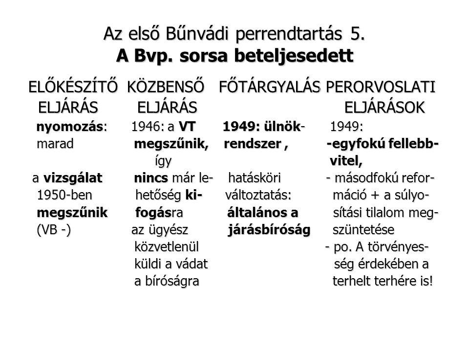 Az első Bűnvádi perrendtartás 5. A Bvp. sorsa beteljesedett ELŐKÉSZÍTŐ KÖZBENSŐ FŐTÁRGYALÁS PERORVOSLATI ELJÁRÁS ELJÁRÁS ELJÁRÁSOK ELJÁRÁS ELJÁRÁS ELJ