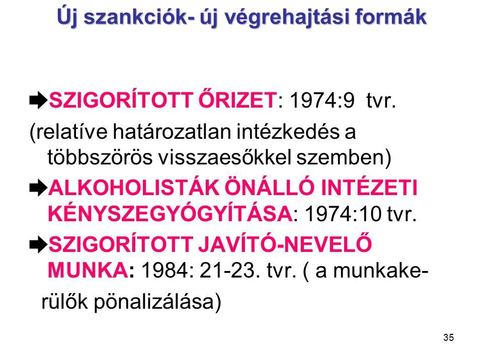 35 Új szankciók- új végrehajtási formák ➨ SZIGORÍTOTT ŐRIZET: 1974:9 tvr.