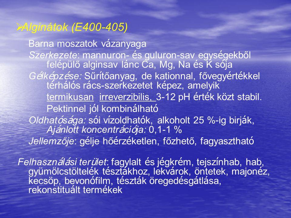   Alginátok (E400-405) Barna moszatok v á zanyaga Szerkezete: mannuron- é s guluron-sav egys é gekből fel é p ü lő alginsav l á nc Ca, Mg, Na é s K