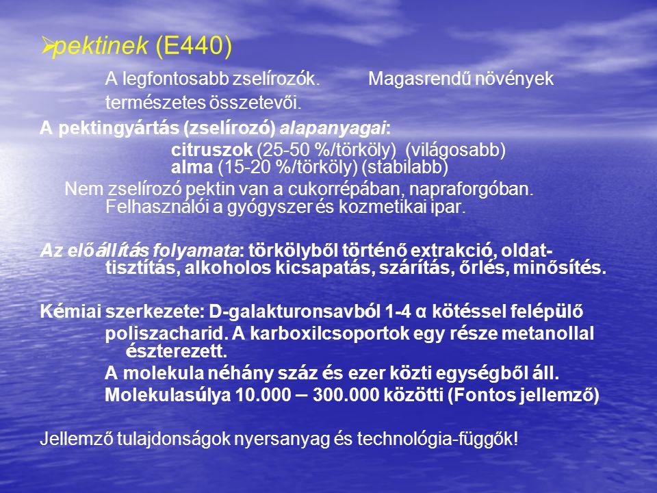   pektinek (E440) A legfontosabb zsel í roz ó k. Magasrendű n ö v é nyek term é szetes ö sszetevői. A pektingy á rt á s (zsel í roz ó ) alapanyagai:
