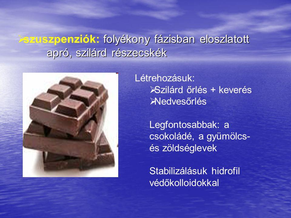  cellulóz és származékai (460-465 ) 1-4 β glikozidos kötéssel kapcsolódó glükózpolimer, → diabetikus, főzés- és fagyás-álló Felhasználása: mártások, fagylaltok, diabetikus készítmények, italok  zsírsavak sói és észterei (E 470-479) Lényege: Zsírsavak mono- és digliceridjeihez hidrofil csoportot kapcsolnak.