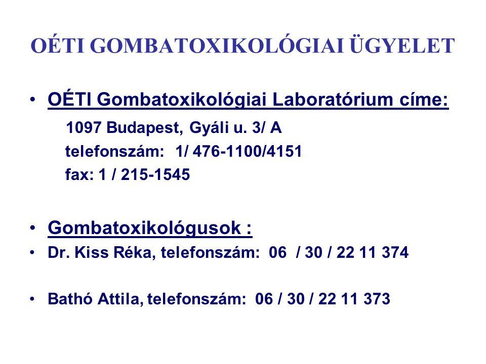OÉTI GOMBATOXIKOLÓGIAI ÜGYELET OÉTI Gombatoxikológiai Laboratórium címe: 1097 Budapest, Gyáli u. 3/ A telefonszám:1/ 476-1100/4151 fax: 1 / 215-1545 G