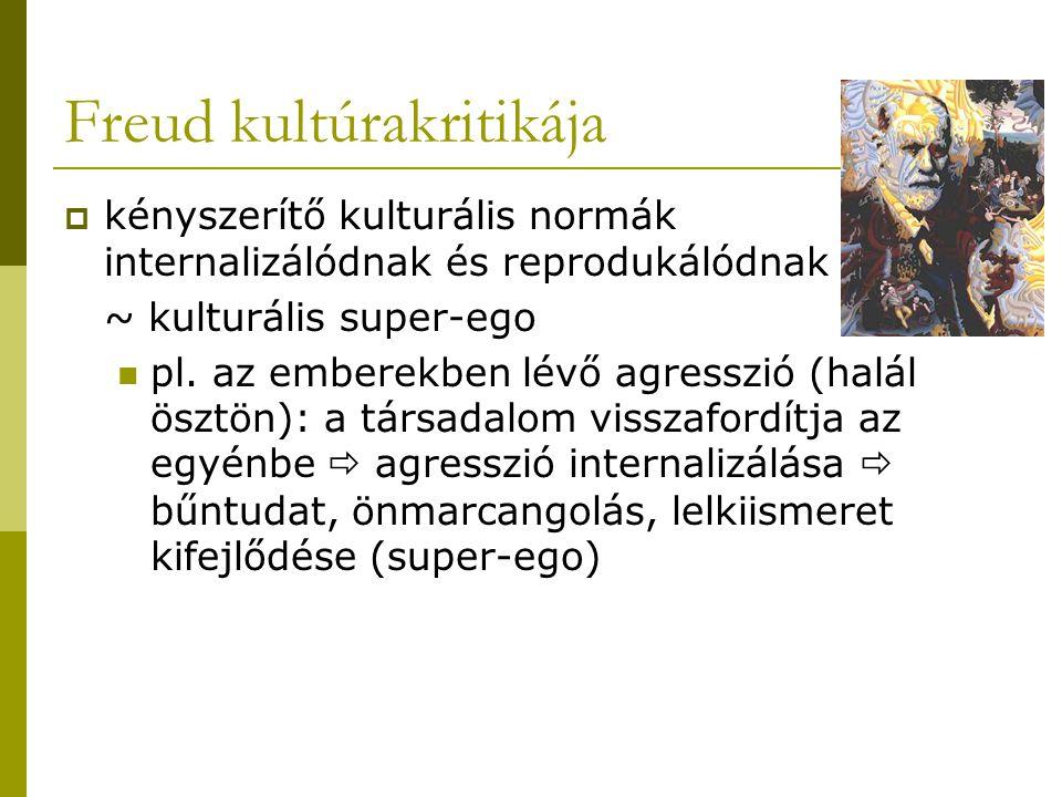 Freud kultúrakritikája  kényszerítő kulturális normák internalizálódnak és reprodukálódnak ~ kulturális super-ego pl. az emberekben lévő agresszió (h