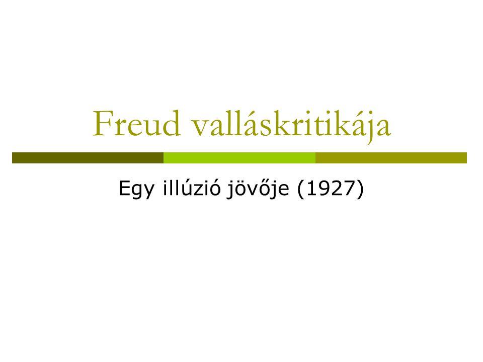 Freud valláskritikája Egy illúzió jövője (1927)