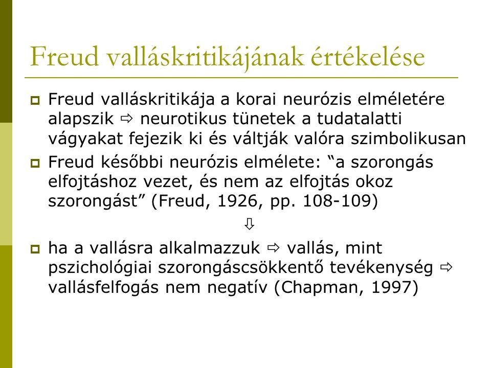Freud valláskritikájának értékelése  Freud valláskritikája a korai neurózis elméletére alapszik  neurotikus tünetek a tudatalatti vágyakat fejezik k