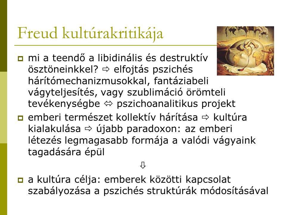 Freud kultúrakritikája  mi a teendő a libidinális és destruktív ösztöneinkkel?  elfojtás pszichés hárítómechanizmusokkal, fantáziabeli vágyteljesíté