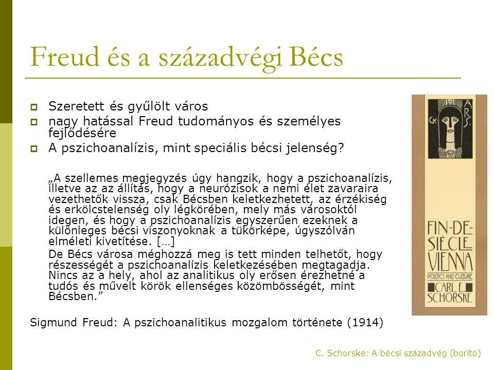 Freud és a századvégi Bécs  Szeretett és gyűlölt város  nagy hatással Freud tudományos és személyes fejlődésére  A pszichoanalízis, mint speciális bécsi jelenség.