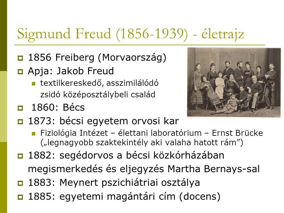 """Sigmund Freud (1856-1939) - életrajz  1856 Freiberg (Morvaország)  Apja: Jakob Freud textilkereskedő, asszimilálódó zsidó középosztálybeli család  1860: Bécs  1873: bécsi egyetem orvosi kar Fiziológia Intézet – élettani laboratórium – Ernst Brücke (""""legnagyobb szaktekintély aki valaha hatott rám )  1882: segédorvos a bécsi közkórházában megismerkedés és eljegyzés Martha Bernays-sal  1883: Meynert pszichiátriai osztálya  1885: egyetemi magántári cím (docens)"""