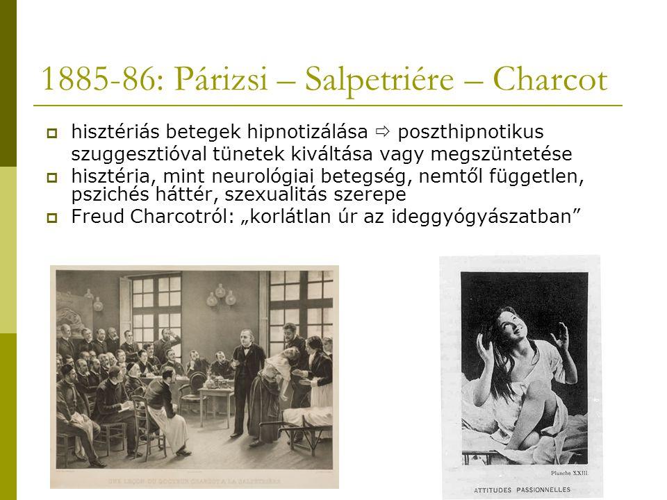 """1885-86: Párizsi – Salpetriére – Charcot  hisztériás betegek hipnotizálása  poszthipnotikus szuggesztióval tünetek kiváltása vagy megszüntetése  hisztéria, mint neurológiai betegség, nemtől független, pszichés háttér, szexualitás szerepe  Freud Charcotról: """"korlátlan úr az ideggyógyászatban"""