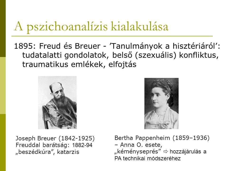 A pszichoanalízis kialakulása 1895: Freud és Breuer - 'Tanulmányok a hisztériáról': tudatalatti gondolatok, belső (szexuális) konfliktus, traumatikus emlékek, elfojtás Bertha Pappenheim (1859–1936) – Anna O.