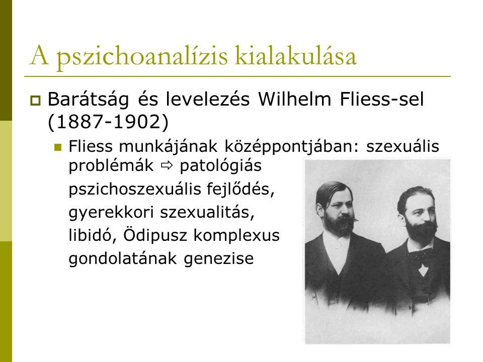 A pszichoanalízis kialakulása  Barátság és levelezés Wilhelm Fliess-sel (1887-1902) Fliess munkájának középpontjában: szexuális problémák  patológiás pszichoszexuális fejlődés, gyerekkori szexualitás, libidó, Ödipusz komplexus gondolatának genezise