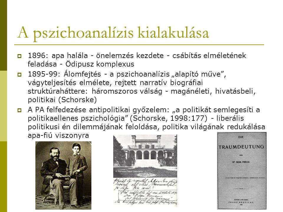 """A pszichoanalízis kialakulása  1896: apa halála - önelemzés kezdete - csábítás elméletének feladása - Ödipusz komplexus  1895-99: Álomfejtés - a pszichoanalízis """"alapító műve , vágyteljesítés elmélete, rejtett narratív biográfiai struktúraháttere: háromszoros válság - magánéleti, hivatásbeli, politikai (Schorske)  A PA felfedezése antipolitikai győzelem: """"a politikát semlegesíti a politikaellenes pszichológia (Schorske, 1998:177) - liberális politikusi én dilemmájának feloldása, politika világának redukálása apa-fiú viszonyra"""