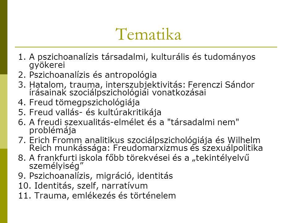 Tematika 1.A pszichoanalízis társadalmi, kulturális és tudományos gyökerei 2.
