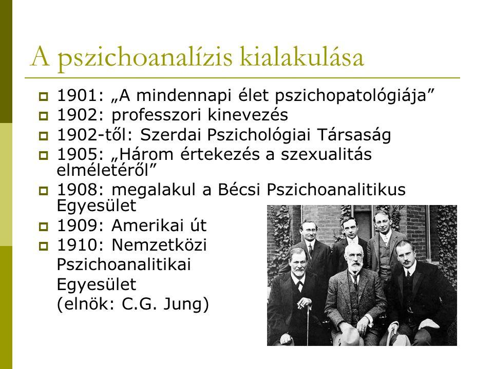 """A pszichoanalízis kialakulása  1901: """"A mindennapi élet pszichopatológiája  1902: professzori kinevezés  1902-től: Szerdai Pszichológiai Társaság  1905: """"Három értekezés a szexualitás elméletéről  1908: megalakul a Bécsi Pszichoanalitikus Egyesület  1909: Amerikai út  1910: Nemzetközi Pszichoanalitikai Egyesület (elnök: C.G."""