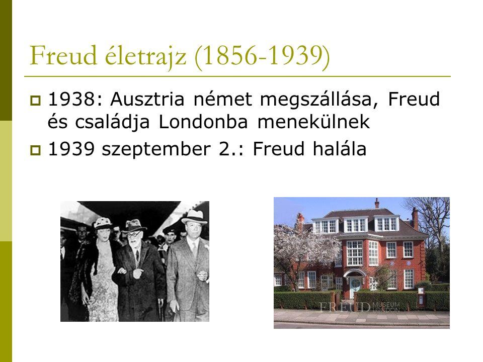 Freud életrajz (1856-1939)  1938: Ausztria német megszállása, Freud és családja Londonba menekülnek  1939 szeptember 2.: Freud halála