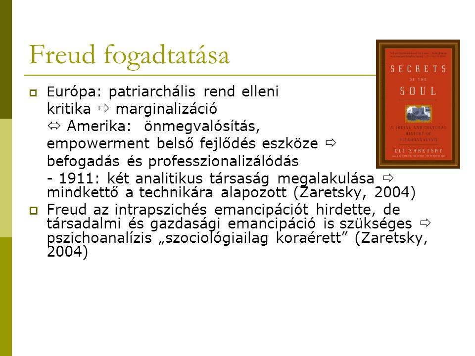 """Freud fogadtatása  E urópa: patriarchális rend elleni kritika  marginalizáció  Amerika: önmegvalósítás, empowerment belső fejlődés eszköze  befogadás és professzionalizálódás - 1911: két analitikus társaság megalakulása  mindkettő a technikára alapozott (Zaretsky, 2004)  Freud az intrapszichés emancipációt hirdette, de társadalmi és gazdasági emancipáció is szükséges  pszichoanalízis """"szociológiailag koraérett (Zaretsky, 2004)"""