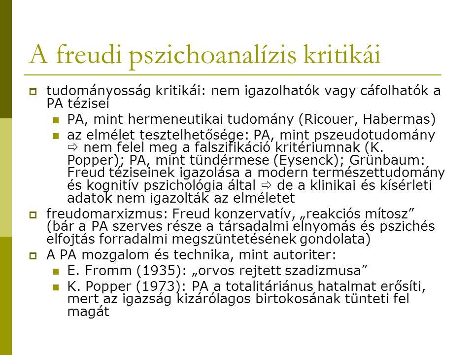 A freudi pszichoanalízis kritikái  tudományosság kritikái: nem igazolhatók vagy cáfolhatók a PA tézisei PA, mint hermeneutikai tudomány (Ricouer, Habermas) az elmélet tesztelhetősége: PA, mint pszeudotudomány  nem felel meg a falszifikáció kritériumnak (K.