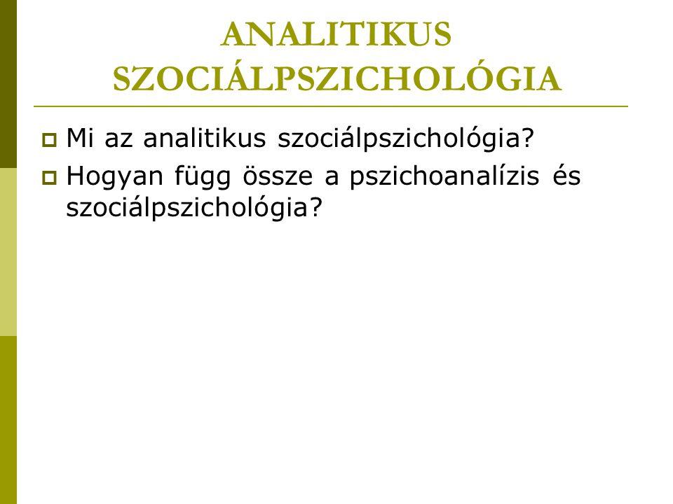 """PSZICHOANALÍZIS ÉS SZOCIÁLPSZICHOLÓGIA  pszichoanalízis és a szociálpszichológia érintkezési pontjai  Freud és nyomában számos követője foglalkozott társadalomlélektani kérdésekkel  pszichoanalízis óriási hatást gyakorolt a huszadik század társadalomtudományi gondolkodására  szubjektum, mint érintkezési pont modern szociálpszichológia: """"a kollektív alany helyét átvette az individuális szubjektum, amely egy tagolt szociális mátrix részeként interakcióba lép környezetével (Erős Ferenc) pszichoanalízis: az egyéni szubjektum pszichológiája; mint élettörténetileg orientált pszichológia kezdettől fogva tekintettel van azokra a társas feltételekre, amelyek között az egyén élettörténete kibontakozik"""