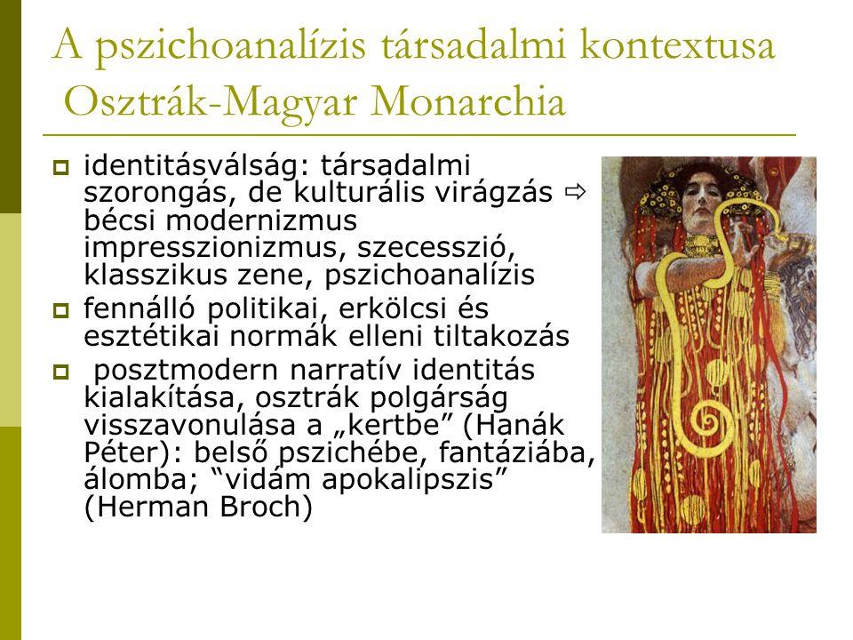 """A pszichoanalízis társadalmi kontextusa Osztrák-Magyar Monarchia  identitásválság: társadalmi szorongás, de kulturális virágzás  bécsi modernizmus impresszionizmus, szecesszió, klasszikus zene, pszichoanalízis  fennálló politikai, erkölcsi és esztétikai normák elleni tiltakozás  posztmodern narratív identitás kialakítása, osztrák polgárság visszavonulása a """"kertbe (Hanák Péter): belső pszichébe, fantáziába, álomba; vidám apokalipszis (Herman Broch)"""