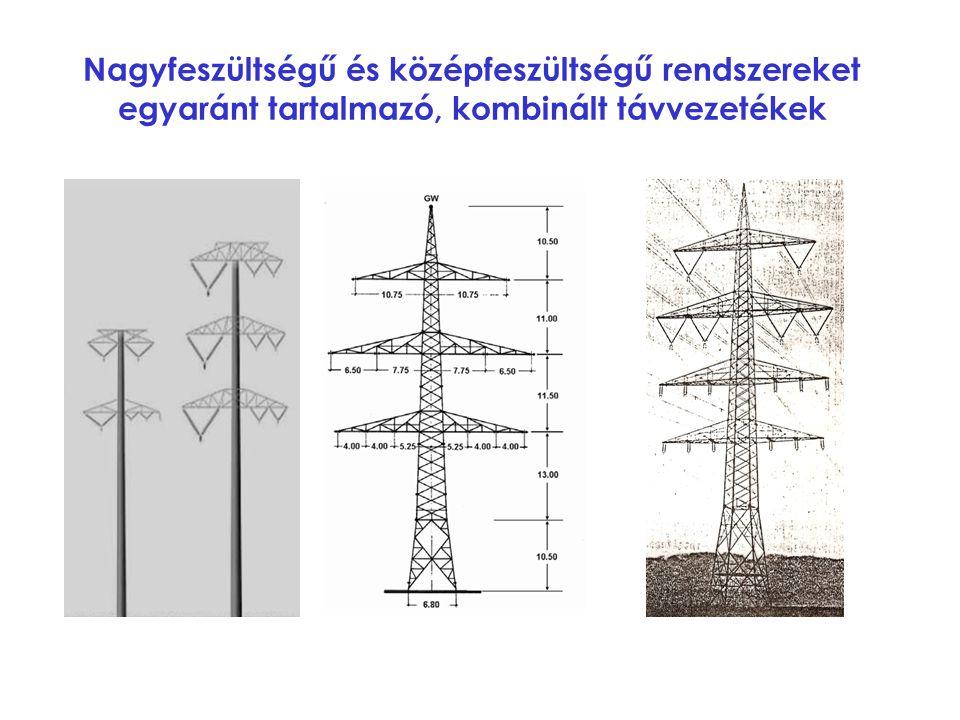 Nagyfeszültségű és középfeszültségű rendszereket egyaránt tartalmazó, kombinált távvezetékek
