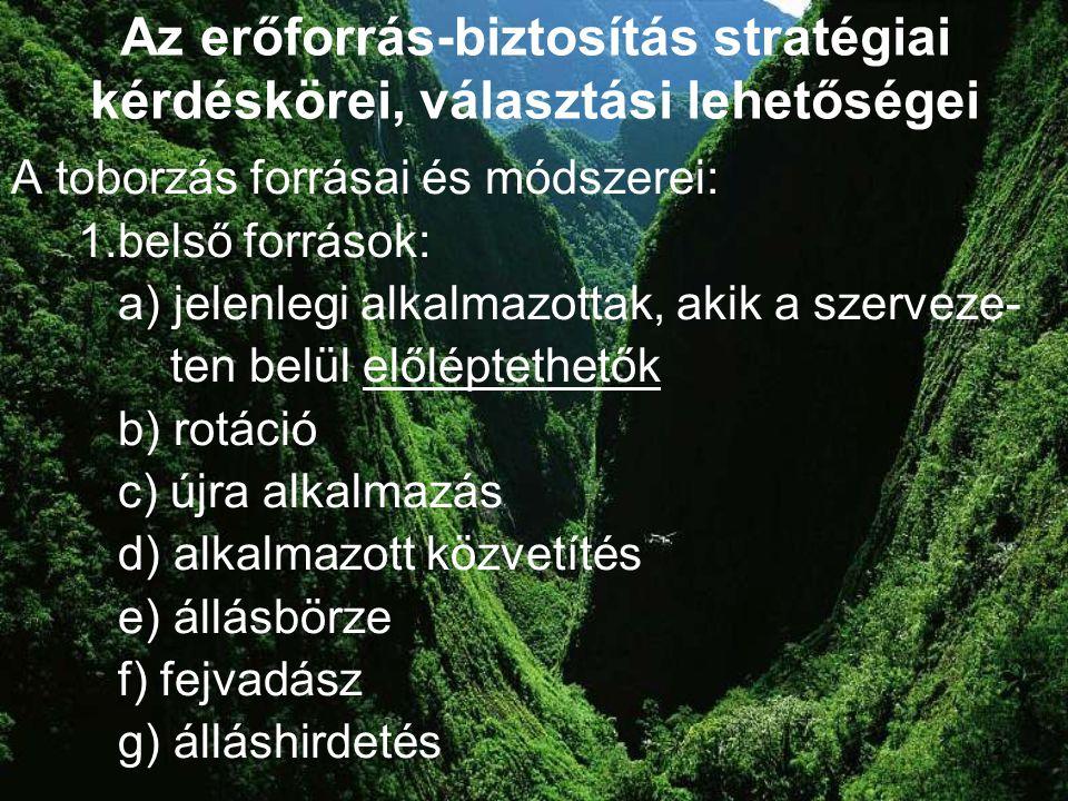12 Az erőforrás-biztosítás stratégiai kérdéskörei, választási lehetőségei A toborzás forrásai és módszerei: 1.belső források: a) jelenlegi alkalmazott