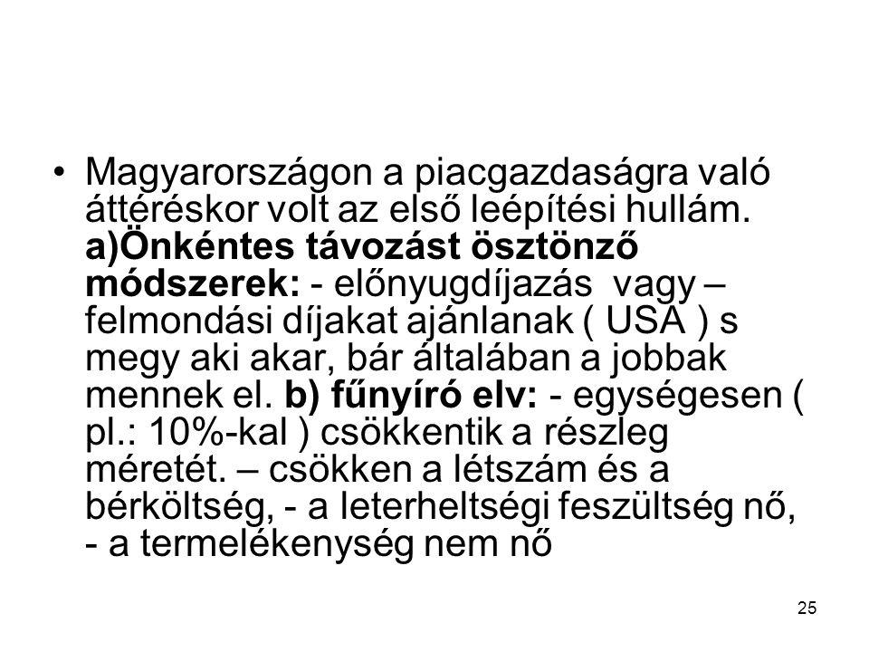 25 Magyarországon a piacgazdaságra való áttéréskor volt az első leépítési hullám. a)Önkéntes távozást ösztönző módszerek: - előnyugdíjazás vagy – felm