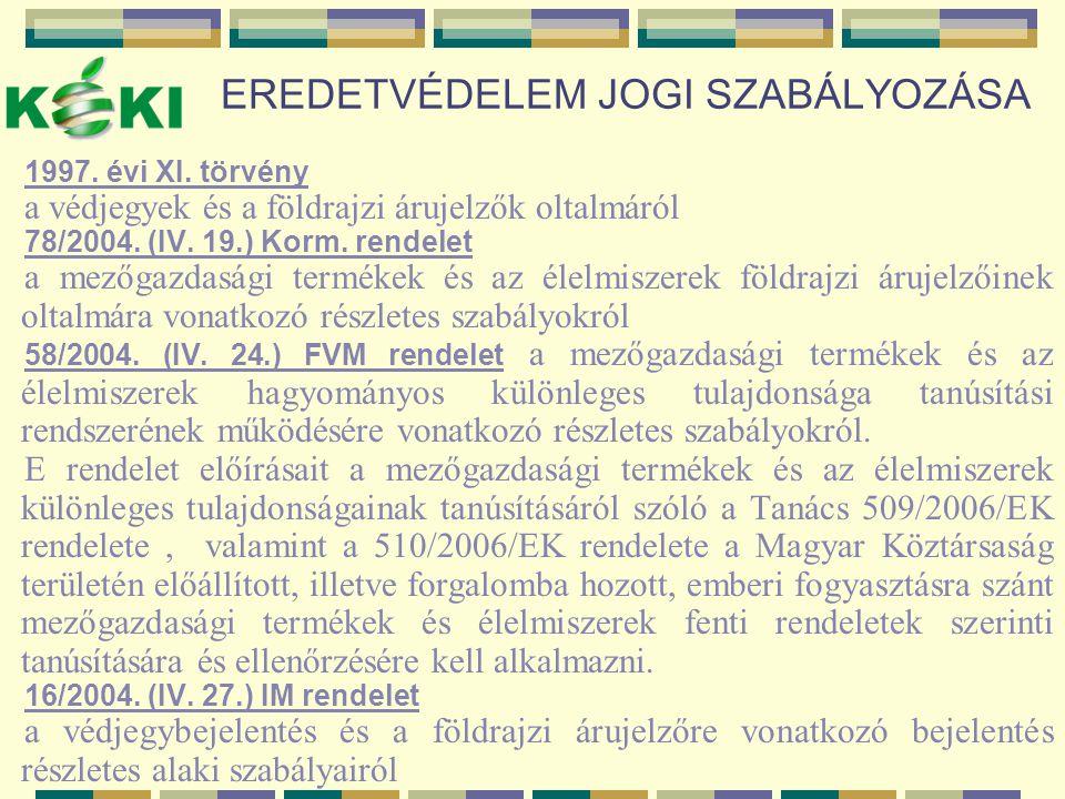 EREDETVÉDELEM JOGI SZABÁLYOZÁSA 1997. évi XI. törvény a védjegyek és a földrajzi árujelzők oltalmáról 78/2004. (IV. 19.) Korm. rendelet a mezőgazdaság