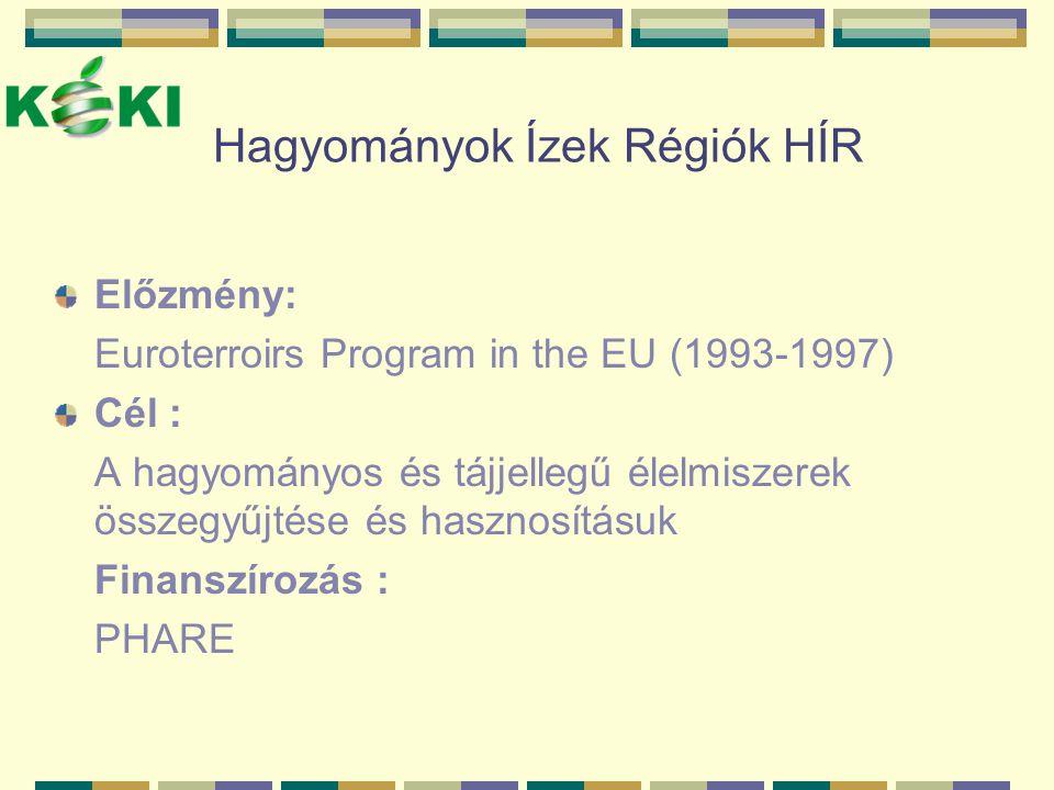 Hagyományok Ízek Régiók HÍR Előzmény: Euroterroirs Program in the EU (1993-1997) Cél : A hagyományos és tájjellegű élelmiszerek összegyűjtése és haszn