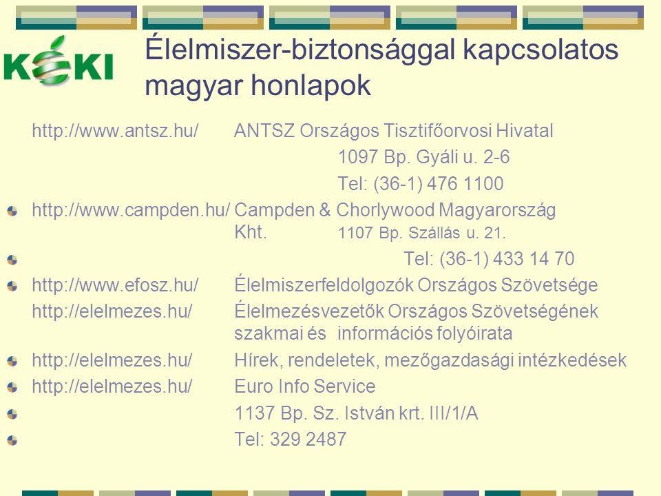 Élelmiszer-biztonsággal kapcsolatos magyar honlapok http://www.antsz.hu/ANTSZ Országos Tisztifőorvosi Hivatal 1097 Bp. Gyáli u. 2-6 Tel: (36-1) 476 11