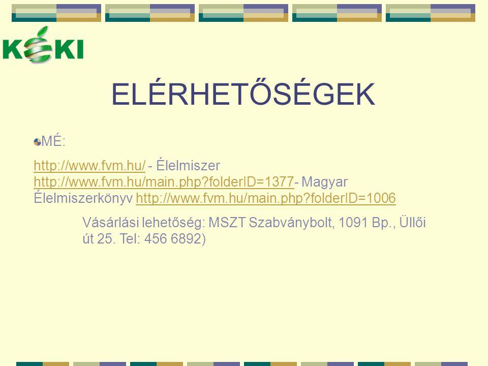 ELÉRHETŐSÉGEK MÉ: http://www.fvm.hu/http://www.fvm.hu/ - Élelmiszer http://www.fvm.hu/main.php?folderID=1377- Magyar Élelmiszerkönyv http://www.fvm.hu