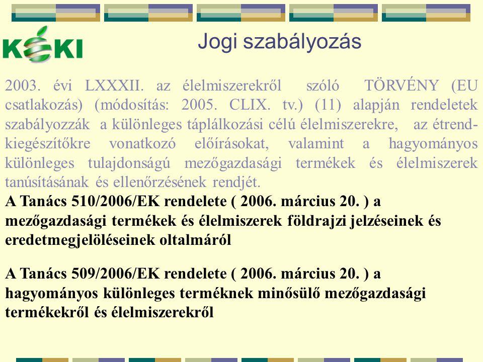 Jogi szabályozás 2003. évi LXXXII. az élelmiszerekről szóló TÖRVÉNY (EU csatlakozás) (módosítás: 2005. CLIX. tv.) (11) alapján rendeletek szabályozzák