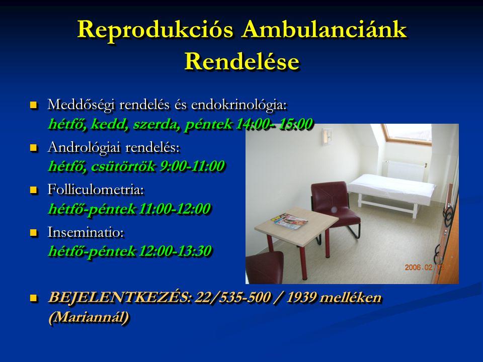 Reprodukciós Ambulanciánk Rendelése Meddőségi rendelés és endokrinológia: hétfő, kedd, szerda, péntek 14:00- 15:00 Meddőségi rendelés és endokrinológi