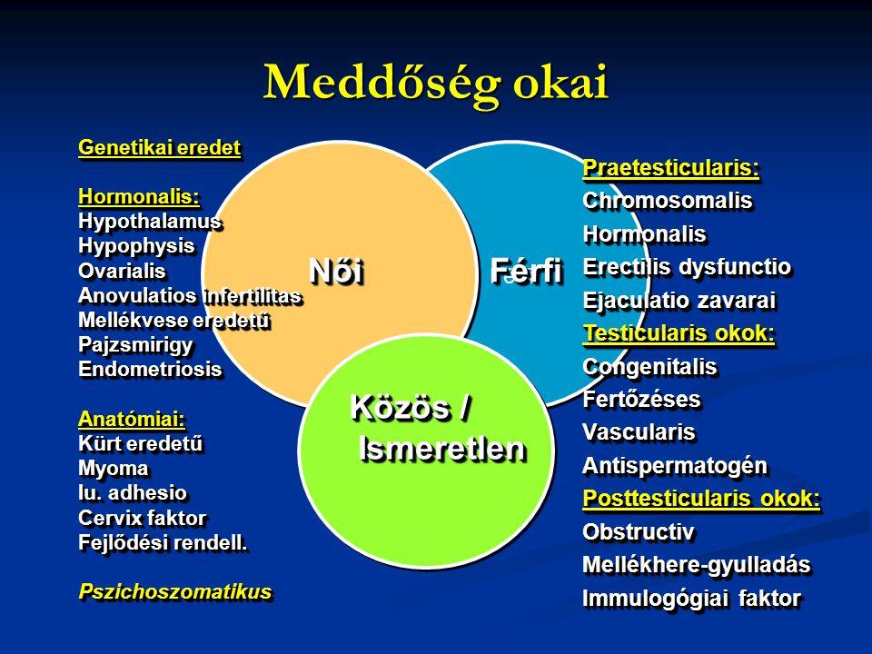 Meddőség okai Férfi Női NőiNőiFérfiFérfi Közös / Ismeretlen Ismeretlen Közös / Ismeretlen Ismeretlen Praetesticularis:ChromosomalisHormonalis Erectili