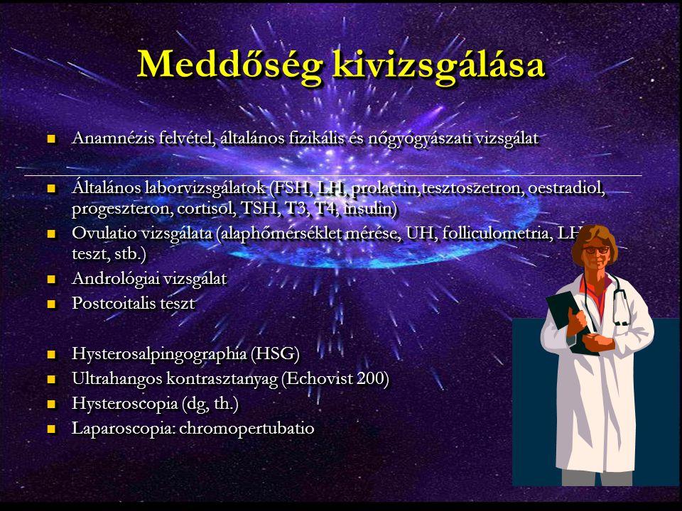Meddőség kivizsgálása Anamnézis felvétel, általános fizikális és nőgyógyászati vizsgálat Anamnézis felvétel, általános fizikális és nőgyógyászati vizs