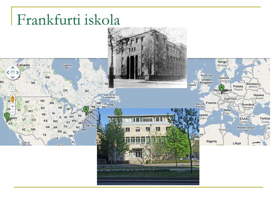 Történeti kontextus Frankfurt, 1920-as évek  intellektuális fénykor  Város szociálliberális irányultság  balliberális zsidó főpolgármester, Ludwig Landmann  Marxista és antikapitalista beállítódás 3 korszak, 3 nagy történeti ugrás