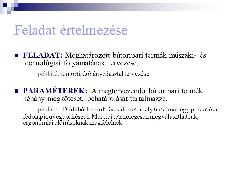Feladat értelmezése FELADAT: Meghatározott bútoripari termék műszaki- és technológiai folyamatának tervezése, például: tömörfa dohányzóasztal tervezés