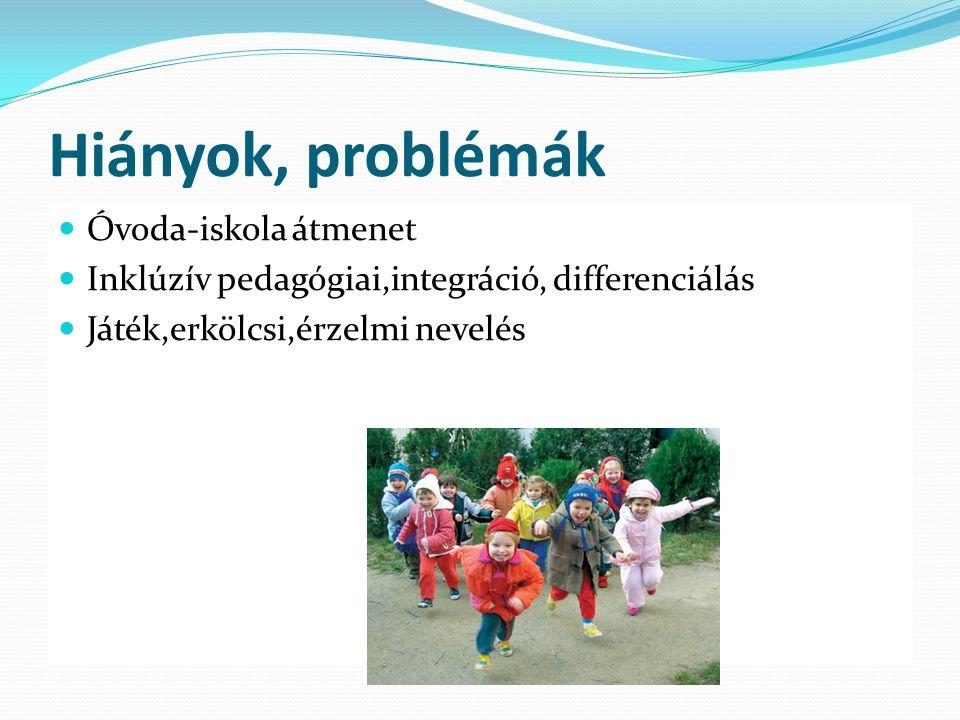 Hiányok, problémák Óvoda-iskola átmenet Inklúzív pedagógiai,integráció, differenciálás Játék,erkölcsi,érzelmi nevelés